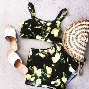 Shorts - Lemon Print High Waist Shorts